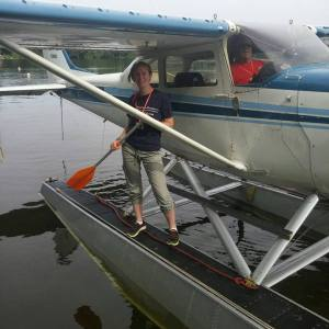 Victoria enjoys the Oshkosh seaplane base